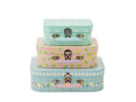 Set de 3 valisettes motifs pastels - rice