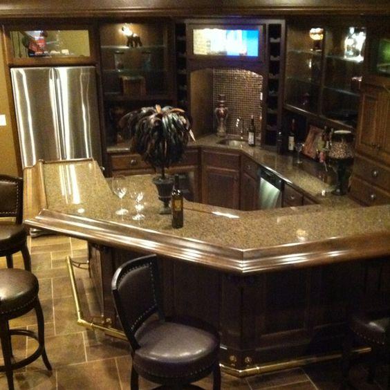 Basement bar from model home dream basement pinterest for Kitchen corner bar ideas