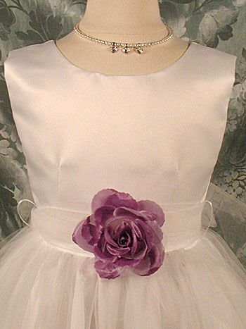 Flower Girl Petal Dress- White or Ivory Sleeveless Satin And Tulle Petal Dress With Purple Petals $49.99