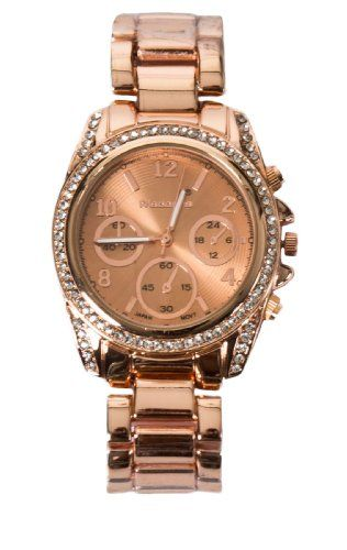 Madonna Damen Chronographen Chronograph mit Strasssteinen, rose gold, Einheitsgröße