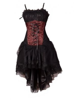 Red Corset High-Low Gothic Party Dress- I really think this could be my wedding dress!