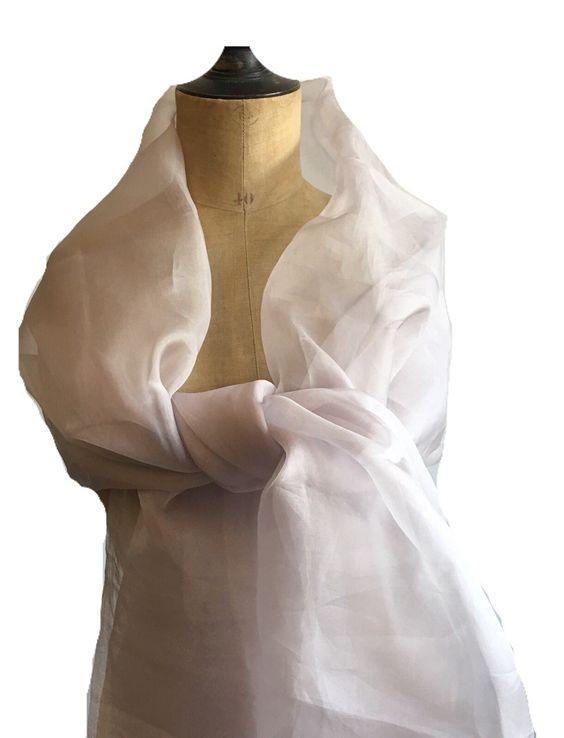 etole organza soie blanc avec touche de parme idale crmonie mariage cocktail - Etole Beige Mariage