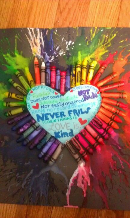 Attempt At Melted Crayons Art Gift For Boyfriend Valentines Day