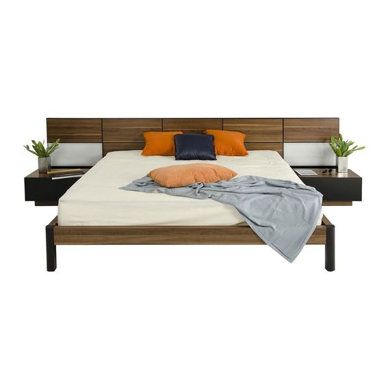 Wood Panel Headboard Bed with Nightstands dotandbo The
