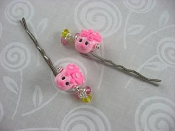Girls Pink Ladybug Bobby Pins  by ByMiMi for $8.00