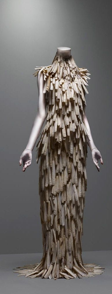 """Alexander McQueen's Dress """"VOSS"""", Spring 2001, Razor-clam shells stripped and varnished."""