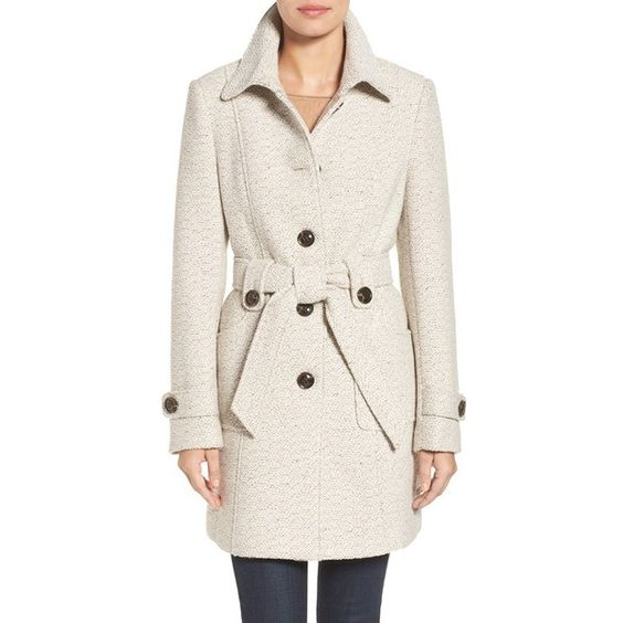 Women's Gallery Belted Tweed Coat (10.690 RUB) ❤ liked on ...