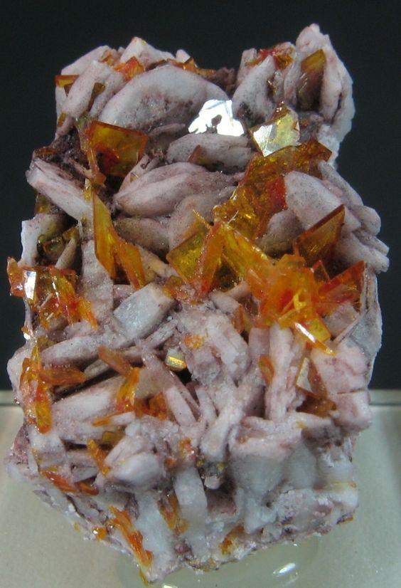 Barite with Wulfenite -  Rowley Mine (Rawley Mine; Reliance Mine; Reliance Copper Mine; Rainbow Mine; Theba Mine; San Carlos patented claim #4524), Theba, Painted Rock District, Painted Rock Mts, Maricopa Co., Arizona  mw
