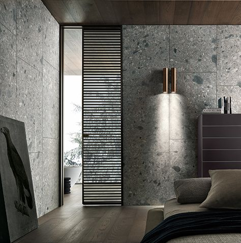 slim sliding Even door, characterized by the thin jamb. Brown aluminium…
