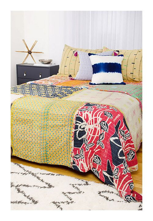 The kantha quilts at this site are very colorful, made of vintage saris  Kantha Quilt - King Bedding Set - CK71