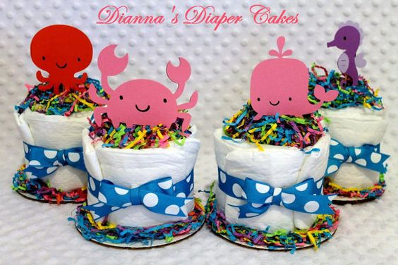 Baby Shower Favors Under 2 ~ Baby diaper cakes and under the sea on pinterest