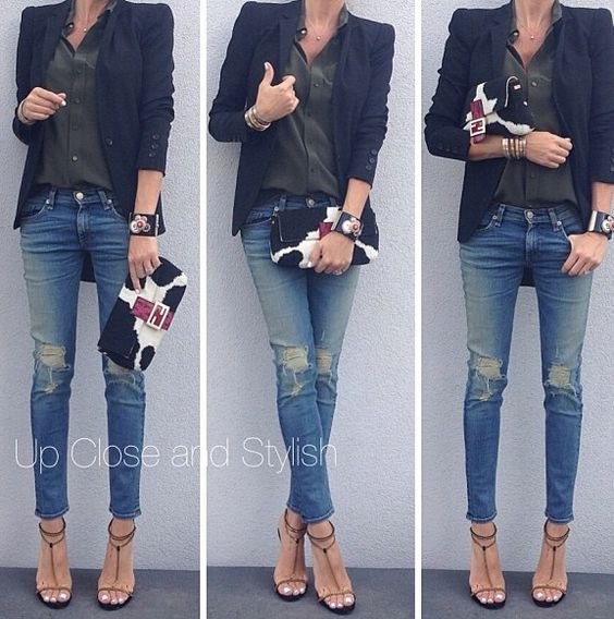 Distressed jeans ( wrong shape for hourglass) with blazer and shirt