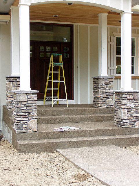 Stone Veneer Columns Curb Appeal Pinterest Front