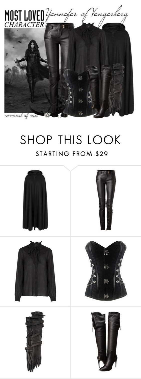 """Yennefer of Vengerberg"" by carnivalofrust ❤ liked on Polyvore featuring Priestley's Vintage, Balmain, Warehouse, Todd Lynn, Burberry, Charlotte Russe and MostLovedCharacter"