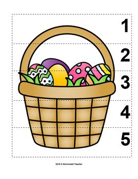 Number Sequence 1-5 Preschool Picture Puzzle - Easter Basket from Worksheet Teacher