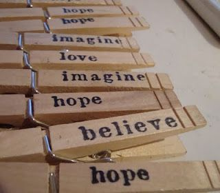 stamped clothespins... would be great to use with displaying children's artwork.