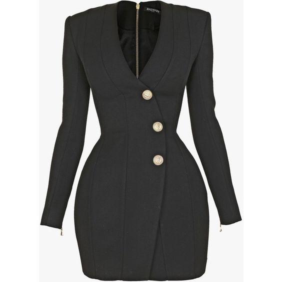 Grain de poudre wool mini dress | Women's dresses | Balmain (€2.737) ❤ liked on Polyvore featuring dresses, mini dress, woolen dress, balmain dress, wool dresses and short dresses
