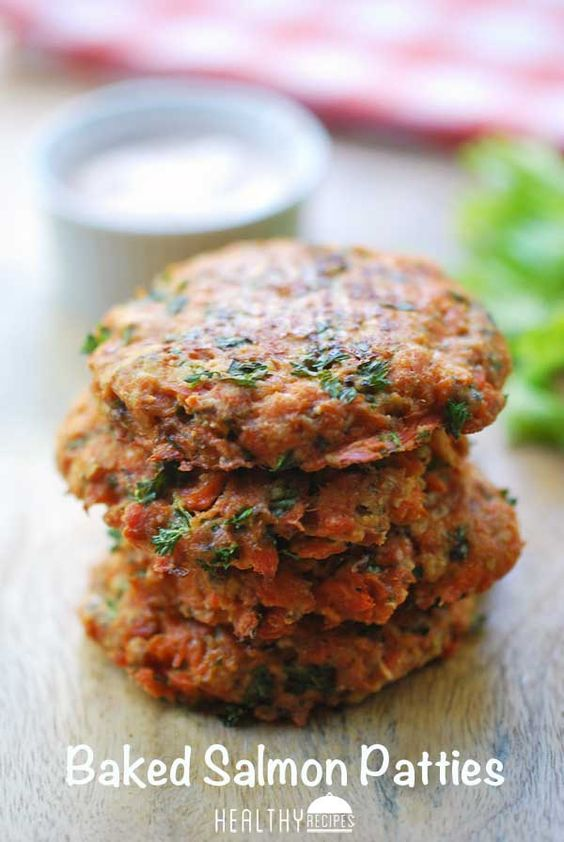 Baked salmon patties with a spicy dip make a quick and easy weeknight dinner.