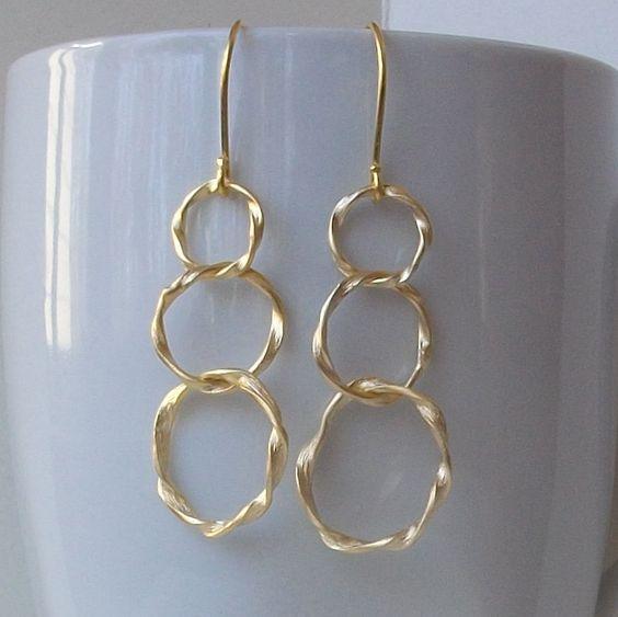 TripleTwist+Eternity+Gold+Dangle+Hoop+Earrings