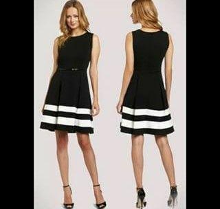 Vestido negro con rayas blancas