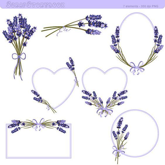 Marco de flor de lavanda y Clipart - Ilustración lavanda imprimible de 300 dpi PNG