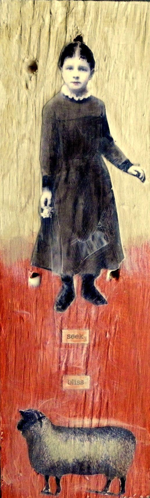 Seek Bliss original vintage inspired painting by Maudstarr
