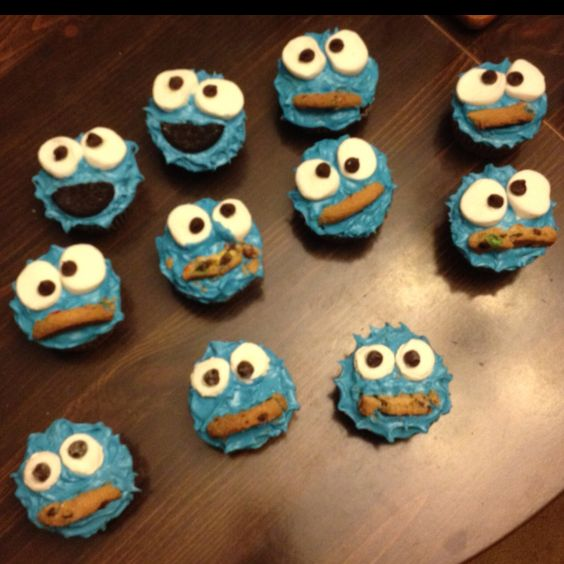 Cookie Monster Cupcakes To Go With Cake For Baby Shower | Sesame Street Baby  Shower | Pinterest