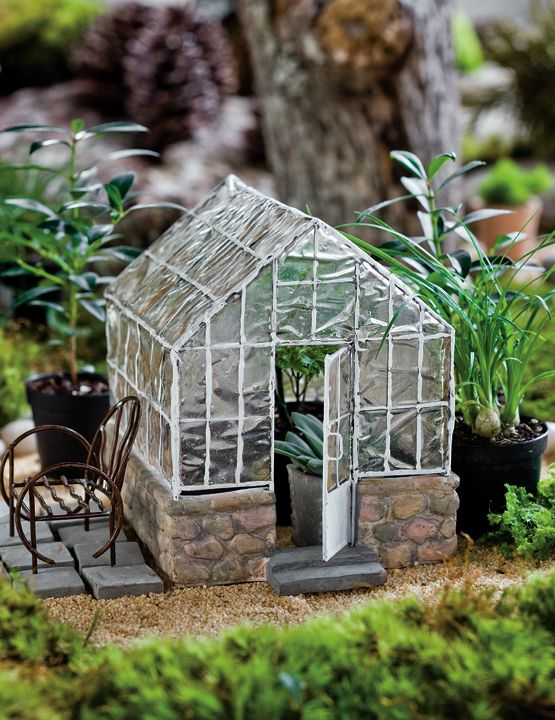 Miniature Fairy Garden, Greenhouse And Chair