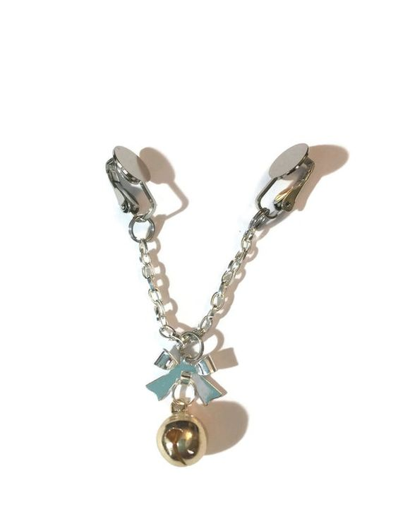 Labia Clip - Bow with Goldtone Bell Charm
