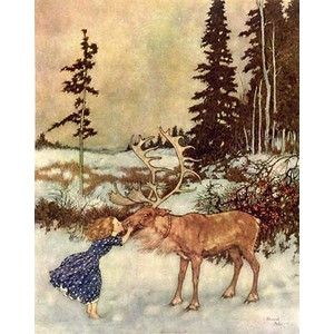 Edmund Dulac's (French), Gerda and the Reindeer, 1911