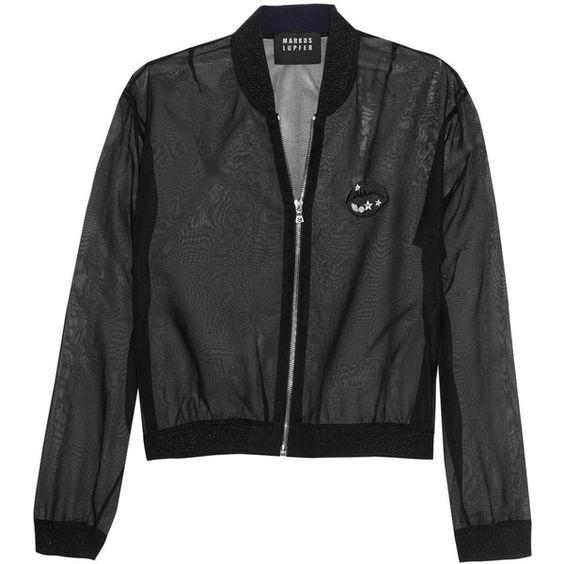 Markus Lupfer - Charlot Embellished Silk-organza Bomber Jacket (665 BRL) ❤ liked on Polyvore featuring outerwear, jackets, black, embellished jacket, zipper jacket, lightweight jacket, bomber style jacket and blouson jacket