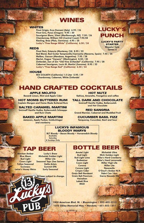 Simple science of drink menus nightclub bar helpful for Bar 88 food menu