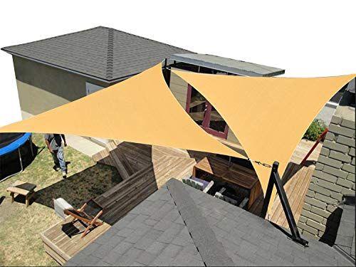 Talitare Sun Sail Canopy 2 Pcs Triangle 12 X 12 X 12 Ft Shade Cloth Outdoor Patio Cover Uv Block Sunshade Fabric Awning In 2020 Sail Canopies Sun Sail Shade Shade Sail