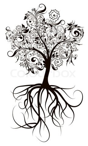 Vector of 'Decorative tree & roots , vector illustration'