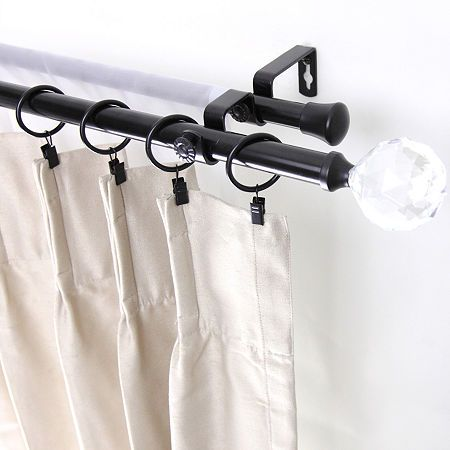 Rod Desyne Double 13 16 Adjustable Curtain Rod With Faceted