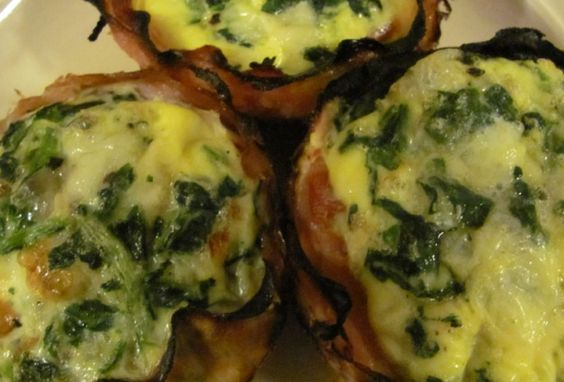 Quiche Cupcakes, 40 calories and 1 weight watchers points plus.  Ham, cheese, spinach, eggs, perfect breakfast