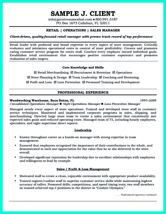 Retail manager resume is made for those professional employments - profit and loss account sample
