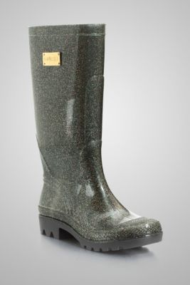 Gold Sparkle Glitter Wellies Black Rain Boots - Guess. I own these