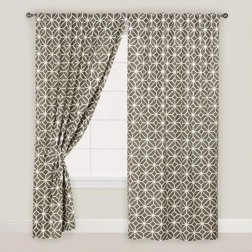 One of my favorite discoveries at WorldMarket.com: Gray Geometric Tile Concealed Tab Top Curtains, Set of 2 $77.38