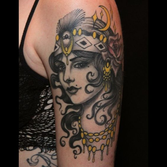Tattoo Woman Gypsy: Gypsy Woman Tattoo By Nate Fierro On Arm