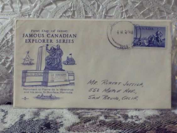 http://ajunkeeshoppe.blogspot.com/  First Day Issue/Cover-Stamp-Famous Canadian Explorers 1958 5c 8ozP724B4HP1205