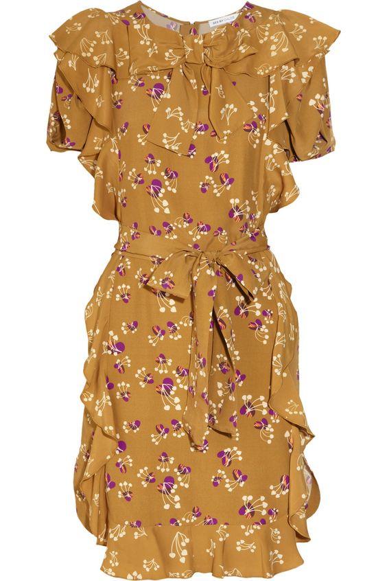 Blossom-print ruffled silk dress - See by Chloé