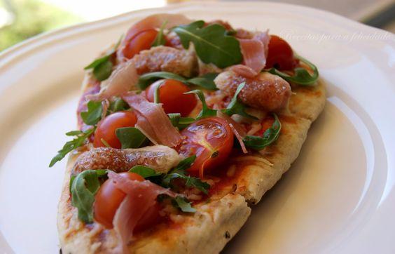 Pizza em Pão Pita com  Figos e Presunto