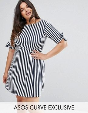 ASOS CURVE Skater Dress with Bow Sleeve In Stripe