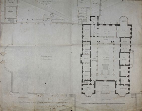 Plan of Lyme Hall with alterations dated January 1814. (4104×3216)