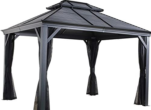 Buy Sojag 12 X 14 Mykonos Double Roof Hardtop Gazebo Outdoor Sun Shelter 12 X 14 Black Online Hardtop Gazebo Gazebo Large Outdoor Furniture