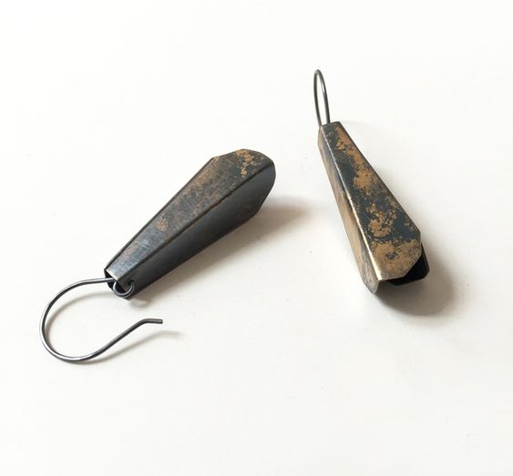 Amy Tavern, Tension Earrings,   brass, sterling: