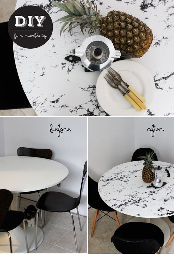 Marble tables, Marbles and Contact paper on Pinterest