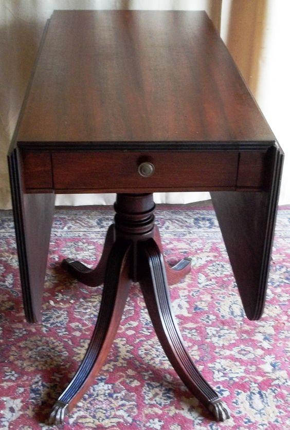 Antique Mahogany Drop Leaf Table Metal Claw Feet Tips