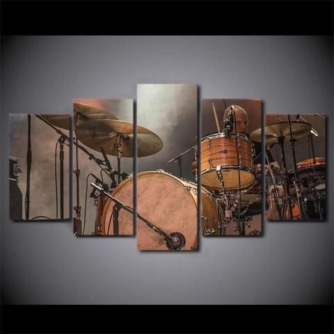 5 Pieces Vintage Drum Set Canvas Art Rooms Home Decor Vintage Drums Canvas Art